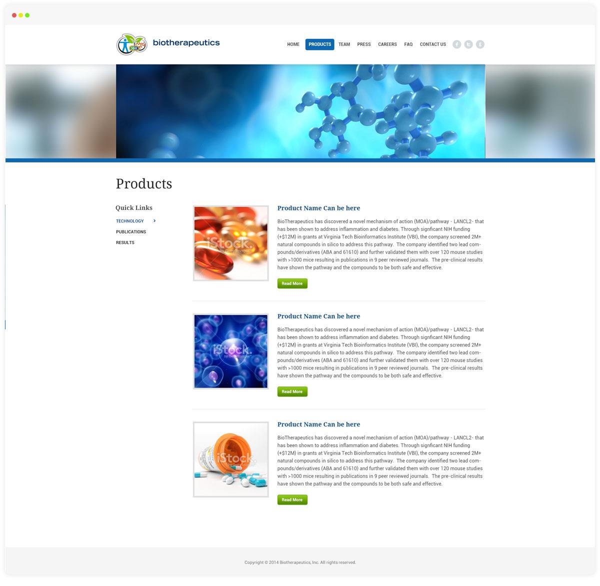 Biotherepeutics Porduct Page
