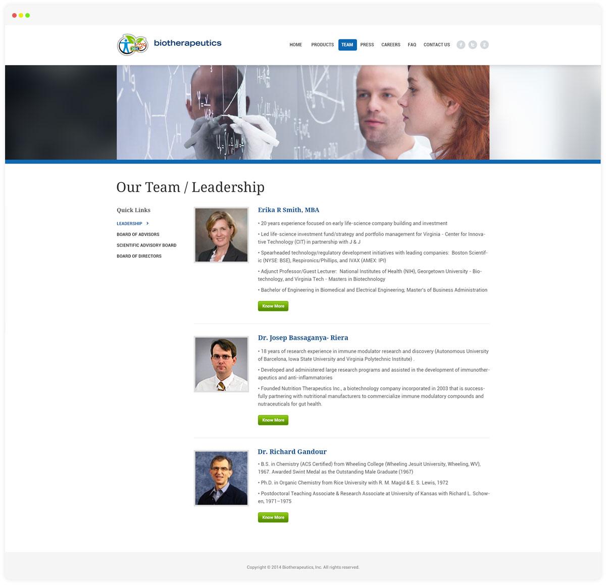 Biotherepeutics Team Page